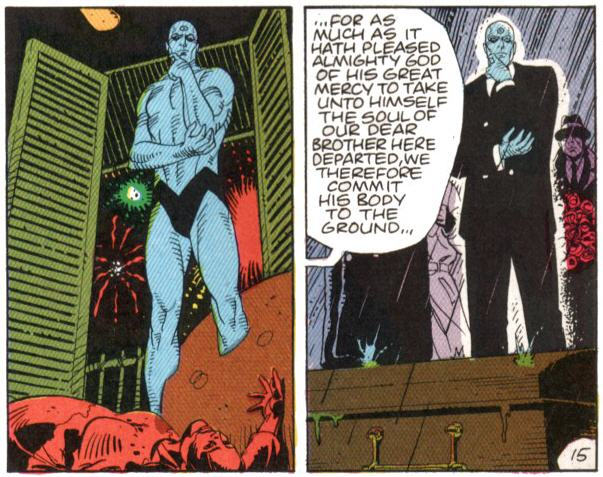 Does Dr  Manhattan act as a figure of the reader in Alan